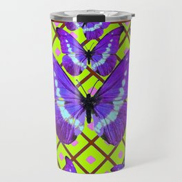 Migrating Purple Butterflies  on  Coffee Brown & Lime Color Pattern Travel Mug