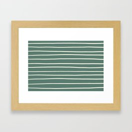 Dover White 33-6 Hand Drawn Horizontal Lines on Thistle Green 22-18 Framed Art Print