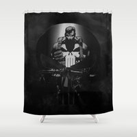 punisher Shower Curtains featuring The Punisher by dTydlacka