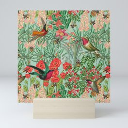 Birds and Bees in Floralville Mini Art Print