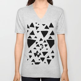 Black white hand painted geometric triangles Unisex V-Neck
