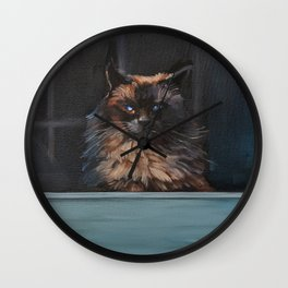 Ragdoll Cat Blue Eyes Inside (screen door with gingerbread)  Wall Clock