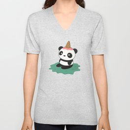 Kawaii Cute Panda Ice Cream Unisex V-Neck
