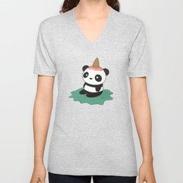 Kawaii Cute Panda Ice Cream Unisex V-Neck