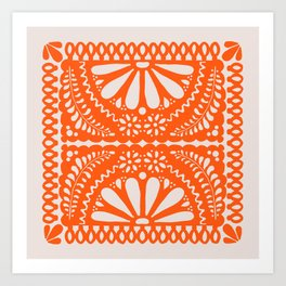 Fiesta de Flores Orange Art Print