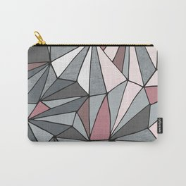 Urban Geometric Pattern on Concrete - Dark grey and pink Carry-All Pouch