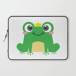 Cute cartoon frog is sitting with crown Laptop Sleeve