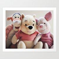 tigger Art Prints featuring Pooh, Tigger, and Piglet by Ning Watson