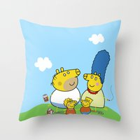 simpson Throw Pillows featuring The Peppa Simpson Family by Carlos Paboudjian