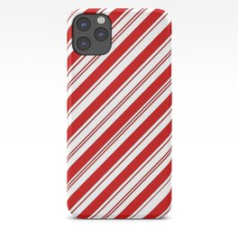 winter holiday xmas red white striped peppermint candy cane iPhone Case