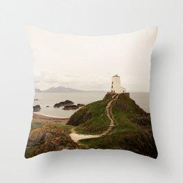 Tŵr Mawr Lighthouse Throw Pillow