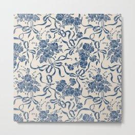 Chic Modern Vintage Ivory Navy Blue Floral Pattern Metal Print
