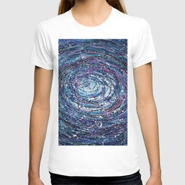 Star Trails Circular Abstract  Pollock Inspired Painting T-shirt