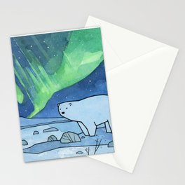 Polar Bear and Northern Lights Stationery Cards