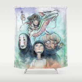 Spirited Away Watercolor Painting Shower Curtain
