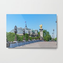 Pont Alexandre III with Grand Palais in the background - Paris Metal Print