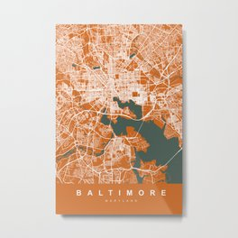BALTIMORE Map Maryland   Orange & Green   More Colors, Review My Collections Metal Print