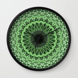 Green detailed mandala Wall Clock