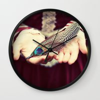 feather Wall Clocks featuring feather by elle moss