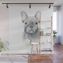 Gray Blue French Bulldog Wall Mural