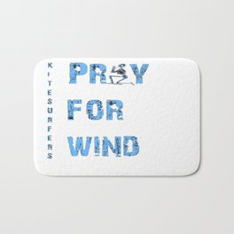 Kiteboarding Humor Kneeling Skeleton Praying For Wind Bath Mat