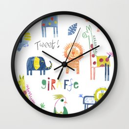 Funky Collaged Safari Animals Wall Clock