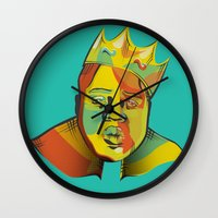 biggie Wall Clocks featuring Biggie by Monica O