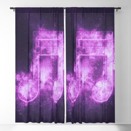 Sixteenth beamed music note symbol. Abstract night sky background Blackout Curtain