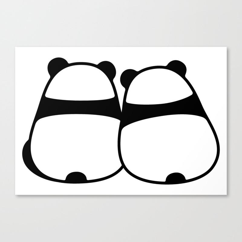 Cute Cartoon Panda Couple Canvas Print By Irmirx Society6