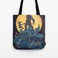 skyrim Tote Bags featuring The Dragon Slayer by Fanboy30