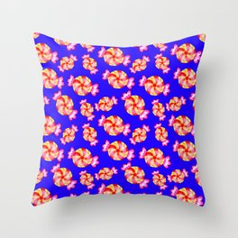 Cute lovely sweet festive decorative candy pattern on blue background. Candy store. Throw Pillow