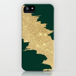 Stylish forest green gold glitter abstract brushstrokes iPhone Case