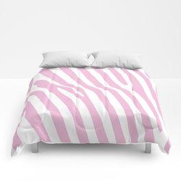Baby Pink Zebra Stripes Comforters