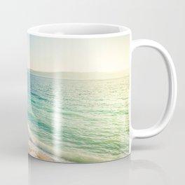 Beach in croatian coast, blue sea. Aerial view Coffee Mug