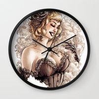 burlesque Wall Clocks featuring Burlesque by Simona Bonafini