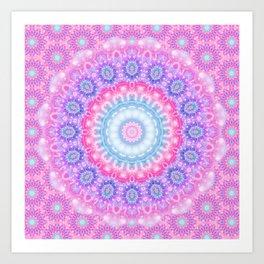 Pink Purple and Light Blue Boho Mandala Art Print