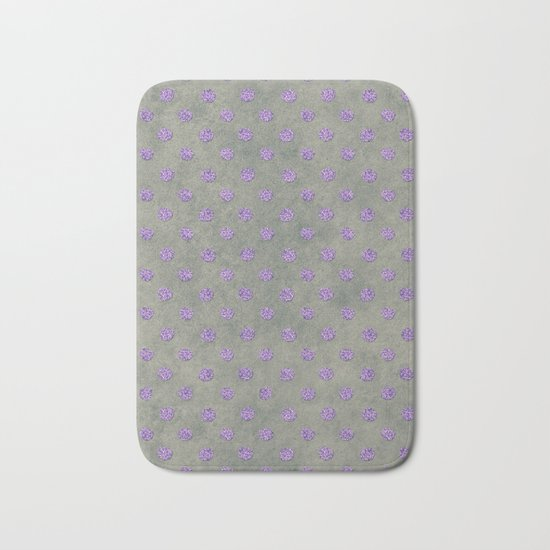 Purple Glitter Dots on Grunge Gray Bath Mat