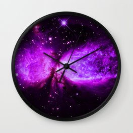 Space Galaxy : A star is born Purple Wall Clock
