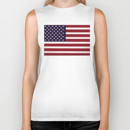 US Flag with grungy painterly textures Biker Tank