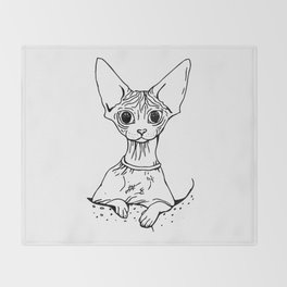 Big Eyed Pretty Wrinkly Kitty - Sphynx Cat Illustration - Nekkie - Cat Lover Gift Throw Blanket