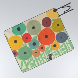 Cat in flower garden Picnic Blanket