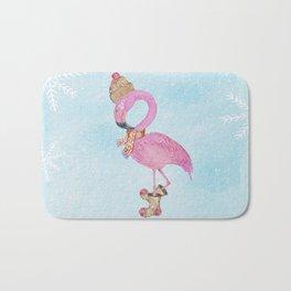 Winter Woodland Stranger- Cute Flamingo Bird Snowy Forest Illustration Bath Mat