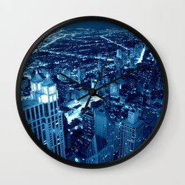 Chicago Nights Blue Wall Clock