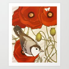 Grey Bird, Red Flowers Art Print