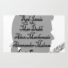 All the names of Jamie Fraser (Outlander) Rug