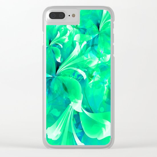 Stylized flowers in green Clear iPhone Case