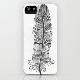 Black and White Feather Zen iPhone Case