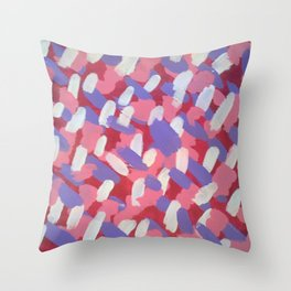 Pink and Purple Brushstrokes Art Throw Pillow
