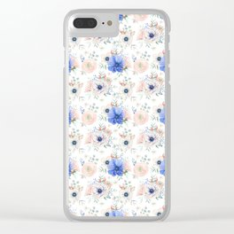 Blue and Pink Garden Flowers Clear iPhone Case
