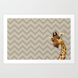 Chevron Giraffe! Art Print